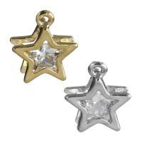 Zinklegierung Stern Anhänger, mit kubischer Zirkonia, plattiert, keine, frei von Nickel, Blei & Kadmium, 13x15x5mm, Bohrung:ca. 1.5mm, 100PaarePärchen/Paar, verkauft von Paar