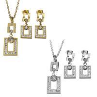 Edelstahl Schmucksets, Ohrring & Halskette, mit Ton, plattiert, Oval-Kette & für Frau & mit Strass, keine, 13x21mm,38.5mm,2mm,11x16mm,26.5mm, Länge:ca. 17.5 ZollInch, verkauft von setzen