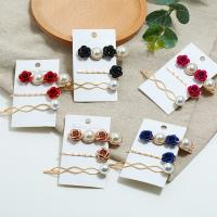 Haarschieber, Zinklegierung, mit ABS-Kunststoff-Perlen, goldfarben plattiert, für Frau, keine, frei von Nickel, Blei & Kadmium, 3PCs/setzen, verkauft von setzen