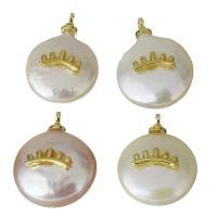 Edelstahl Schmuck Anhänger, mit Perlen, goldfarben plattiert, 12-13x15-17x5.5-7mm, Bohrung:ca. 1.5mm, 5PCs/Menge, verkauft von Menge