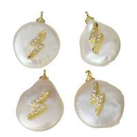 Edelstahl Schmuck Anhänger, mit Perlen, goldfarben plattiert, Micro pave Zirkonia, 12.5-14x18-20x7-9mm, Bohrung:ca. 1.5mm, 5PCs/Menge, verkauft von Menge