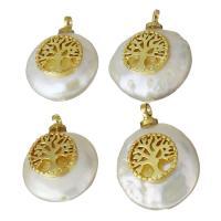 Edelstahl Schmuck Anhänger, mit Perlen, goldfarben plattiert, 12-13.5x15.5-17x6-7mm, Bohrung:ca. 1.5mm, 5PCs/Menge, verkauft von Menge