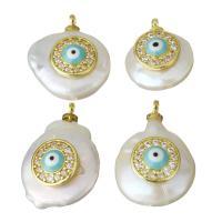 Edelstahl Anhänger, mit Perlen & Emaille, goldfarben plattiert, böser Blick- Muster & Micro pave Zirkonia, 12-15x15.5-20.5-8mm, Bohrung:ca. 1.5mm, 5PCs/Menge, verkauft von Menge