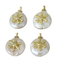Edelstahl Schmuck Anhänger, mit Perlen, goldfarben plattiert, Micro pave Zirkonia, 11-12x15-15.5x5-6mm, Bohrung:ca. 1.5mm, 5PCs/Menge, verkauft von Menge