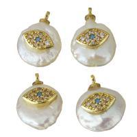 Edelstahl Schmuck Anhänger, mit Perlen, goldfarben plattiert, Micro pave Zirkonia, keine, 11-13x14.5-18.5x5.5-9.5mm, Bohrung:ca. 1.5mm, 5PCs/Menge, verkauft von Menge