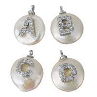 Edelstahl Schmuck Anhänger, mit Perlen, silberfarben plattiert, Buchstaben sind von A bis Z & verschiedene Stile für Wahl & Micro pave Zirkonia, 12-14x14.5-16.5x6-8mm, Bohrung:ca. 1.5mm, 5PCs/Menge, verkauft von Menge