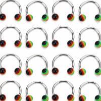 Edelstahl Nasepiercing Schmuck, mit Harz, unisex, gemischte Farben, 3.4mm, Länge:4.3 ZollInch, 10PC/Tasche, verkauft von Tasche