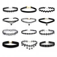 Spitze Collier, rund, Gotik & für Frau, schwarz, frei von Nickel, Blei & Kadmium, 12PC/Menge, verkauft von Menge