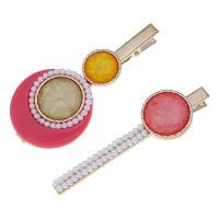 Schnabelspange, Zinklegierung, mit Kunststoff Perlen & Acryl, verschiedene Stile für Wahl & für Frau, frei von Nickel, Blei & Kadmium, 3.8cm*8cm,2.3cm*8cm, verkauft von setzen