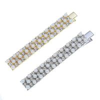 Schnabelspange, Zinklegierung, mit Kunststoff Perlen, verschiedene Stile für Wahl & für Frau & mit Strass, frei von Nickel, Blei & Kadmium, 12x80mm, verkauft von setzen