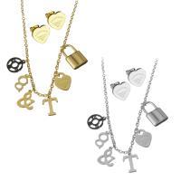 Edelstahl Schmucksets, Halskette, plattiert, Oval-Kette & für Frau, keine, 9x12mm,10x17mm,2mm,11x11mm, Länge:ca. 17.5 ZollInch, verkauft von setzen