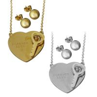 Edelstahl Schmucksets, Halskette, Herz und Schlüssel, plattiert, Oval-Kette & für Frau, keine, 30x28mm,2mm,8x8mm, Länge:ca. 18.5 ZollInch, verkauft von setzen