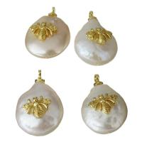 Edelstahl Schmuck Anhänger, mit Perlen, goldfarben plattiert, 12-13x18-19x7.5-8.5mm, Bohrung:ca. 1.5mm, 5PCs/Menge, verkauft von Menge