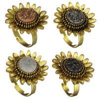 Messing Manschette Fingerring, mit Eisquarz Achat, Sonnenblume, goldfarben plattiert, 25mm, Größe:8, verkauft von PC