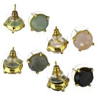 Gemischte Edelstein Anhänger, Messing, mit Edelstein, goldfarben plattiert, für Frau, 11.50mm, verkauft von Paar