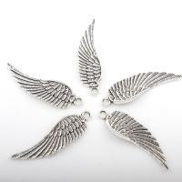 Flügel Zinklegierung Anhänger , Flügelform, antik silberfarben plattiert, frei von Nickel, Blei & Kadmium, 13*48mm, Bohrung:ca. 3mm, 2Taschen/Menge, ca. 125PCs/Tasche, verkauft von Menge