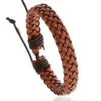 PU Leder Armband, gewebte Muster & für den Menschen, braun, frei von Nickel, Blei & Kadmium, 180x10mm, verkauft von PC