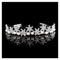 Krone, Zinklegierung, mit Kunststoff Perlen, silberfarben plattiert, für Braut & mit Strass, frei von Nickel, Blei & Kadmium, 160x30mm, verkauft von setzen