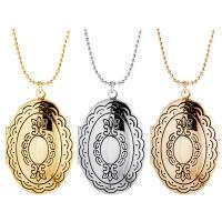 Messing Medaillon-Halskette, für Frau, keine, frei von Nickel, Blei & Kadmium, 26x38mm, Länge:ca. 17.7 ZollInch, verkauft von Paar