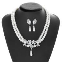 Zinklegierung Mode Schmuckset, Ohrring & Halskette, mit Muschelkern, plattiert, für Braut & mit Strass, frei von Nickel, Blei & Kadmium, 42x7cmuff0c1.5x4.6cm, verkauft von setzen