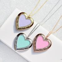Zinklegierung Medaillon-Halskette, mit Verlängerungskettchen von 5cm, Herz, für Frau & glänzend & Emaille, keine, frei von Nickel, Blei & Kadmium, 40x42mm, verkauft per ca. 15.7 ZollInch Strang
