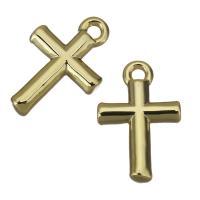 Messing Kreuz Anhänger, goldfarben plattiert, frei von Nickel, Blei & Kadmium, 8x12.50x2.50mm, Bohrung:ca. 1mm, ca. 200PCs/Menge, verkauft von Menge