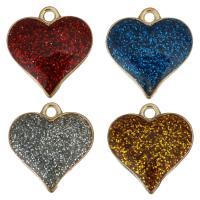 Zinklegierung Herz Anhänger, plattiert, Emaille, keine, frei von Nickel, Blei & Kadmium, 16x17x3mm, Bohrung:ca. 2mm, 50PCs/Menge, verkauft von Menge