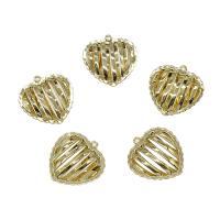 Messing Herz Anhänger, goldfarben plattiert, frei von Nickel, Blei & Kadmium, 16x15mm, Bohrung:ca. 0.5mm, 30PCs/Tasche, verkauft von Tasche