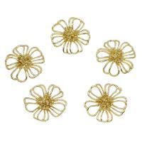 Messing Cabochon Einstellungen, Blume, goldfarben plattiert, hohl, frei von Nickel, Blei & Kadmium, 20x20mm, 50PCs/Tasche, verkauft von Tasche