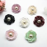 Spitze Haarspange Brosche Würdigung, mit Kunststoff Perlen, plattiert, keine, 35mm, Bohrung:ca. 2mm, 50/Menge, verkauft von Menge