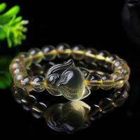 Gelbquarz Perlen Armband, Fuchs, poliert, transparent & für Frau, gelb, 10mm, verkauft per ca. 6 ZollInch Strang