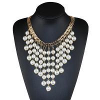 Eisen Kragenkette, mit ABS-Kunststoff-Perlen, mit Verlängerungskettchen von 80mm, plattiert, für Frau, goldfarben, frei von Nickel, Blei & Kadmium, 120mm, verkauft per ca. 17.7 ZollInch Strang