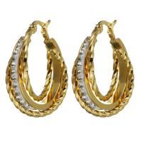 Edelstahl-Hebel zurück-Ohrring, Edelstahl, mit Ton, goldfarben plattiert, für Frau, 8x30mm, verkauft von Paar