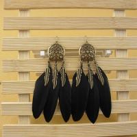Zinklegierung Tropfen Ohrring, mit Feder, Traumfänger, antike Goldfarbe plattiert, für Frau, keine, frei von Nickel, Blei & Kadmium, 95mm, 2PaarePärchen/Menge, verkauft von Menge