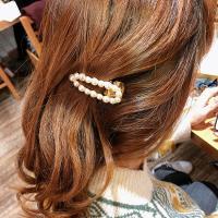 Schnabelspange, Zinklegierung, mit Kunststoff Perlen, plattiert, für Frau, weiß, frei von Nickel, Blei & Kadmium, 60mm, verkauft von PC
