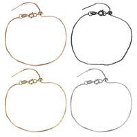Messing Armband, plattiert, Kastenkette & für Frau, keine, frei von Nickel, Blei & Kadmium, 1mm, Länge:ca. 8 ZollInch, 50SträngeStrang/Menge, verkauft von Menge