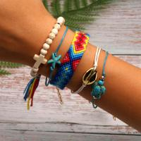 Baumwollfaden Armband, mit Zinklegierung, verschiedene Stile für Wahl & für Frau, Länge:ca. 17 ZollInch, 2SetsSatz/Menge, verkauft von Menge