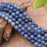 Aventurin Perlen, Blauer Aventurin, rund, poliert, DIY & verschiedene Größen vorhanden & satiniert, blau, verkauft per ca. 15 ZollInch Strang