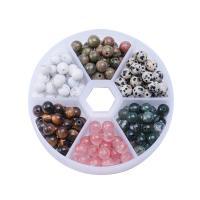 Naturstein Perle, mit Kunststoff Kasten, plattiert, 6mm, 2BoxFeld/Menge, verkauft von Menge