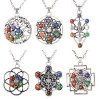 Zinklegierung Halskette, mit Edelstein, plattiert, unisex, keine, frei von Nickel, Blei & Kadmium, verkauft per 23.6 ZollInch Strang