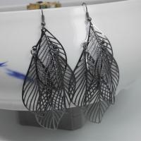 Eisen Tropfen Ohrring, Blatt, plattiert, für Frau & hohl, keine, frei von Nickel, Blei & Kadmium, 37x95mm, 10PaarePärchen/Menge, verkauft von Menge