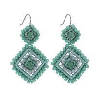 Kristall Tropfen Ohrring, Quadrat, handgemacht, gewebte Muster & für Frau, mehrere Farben vorhanden, 56mm, verkauft von Paar