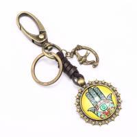 Zinklegierung Schlüssel Verschluss, mit Leder & Glas, goldfarben plattiert, unisex, goldfarben, frei von Nickel, Blei & Kadmium, 110x35mm, verkauft von PC