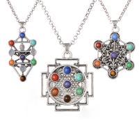 Edelstein Schmuck Halskette, Zinklegierung, mit Edelstein, plattiert, unisex, keine, frei von Nickel, Blei & Kadmium, verkauft per 23.6 ZollInch Strang
