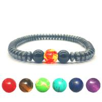 Schwarzer Achat Armband, mit Hämatit, plattiert, unisex, keine, verkauft per 7.4 ZollInch Strang