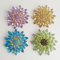 Zinklegierung Broschen, mit Acryl, Blume, goldfarben plattiert, für Frau & mit Strass, keine, frei von Nickel, Blei & Kadmium, 70mm, verkauft von PC
