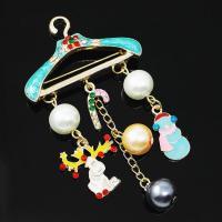 Zinklegierung Broschen, mit Kunststoff Perlen, goldfarben plattiert, für Frau & Emaille & mit Strass, frei von Nickel, Blei & Kadmium, 72mm, 5PCs/Menge, verkauft von Menge