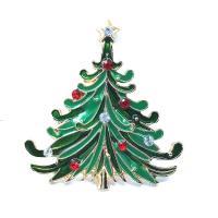 Zinklegierung Brosche, Weihnachtsbaum, goldfarben plattiert, für Frau & Emaille & mit Strass, grün, frei von Nickel, Blei & Kadmium, 44mm, 5PCs/Menge, verkauft von Menge