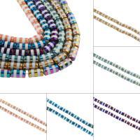 Kristall-Perlen, Kristall, Zylinder, bunte Farbe plattiert, mehrere Farben vorhanden, 10x20mm, Bohrung:ca. 2mm, ca. 15PCs/Strang, verkauft von Strang
