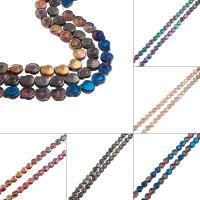 Kristall-Perlen, Kristall, Strandschnecke, bunte Farbe plattiert, mehrere Farben vorhanden, 12x11x5mm, Bohrung:ca. 1.2mm, ca. 50PCs/Strang, verkauft von Strang